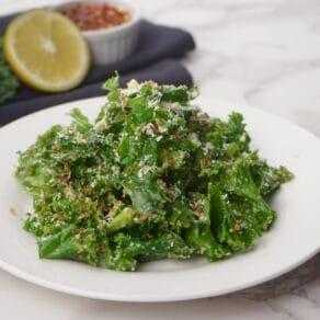 Kale Caesar Salad with Parmesan and Panko