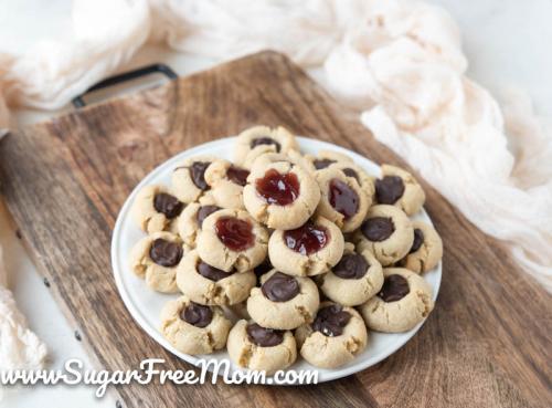 Sugar Free Keto Thumbprint Cookies (Nut Free, Gluten Free)