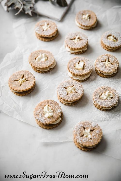 Keto Gingerbread Linzer Cookies