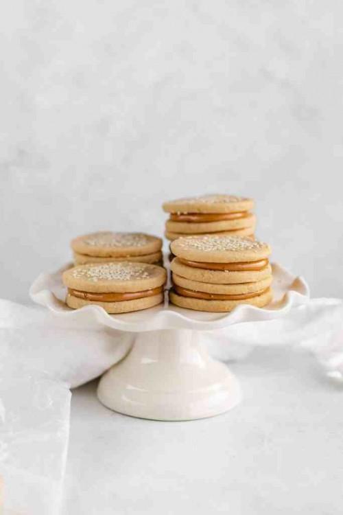 Tahini Shortbread Cookies with Dulce de Leche
