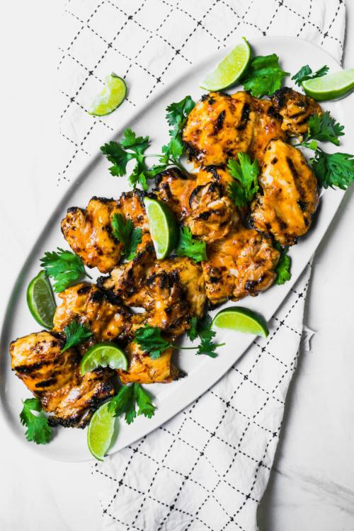 Grilled Spicy Coconut Chicken Thighs