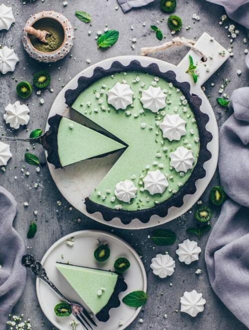 Matcha Cheesecake Oreo Custard Tart Pie | Vegan